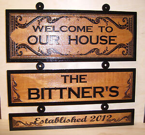 Personalized Wood Sign.WELCOME TO OUR  HOUSE Birch..Laser engraved.Gift.