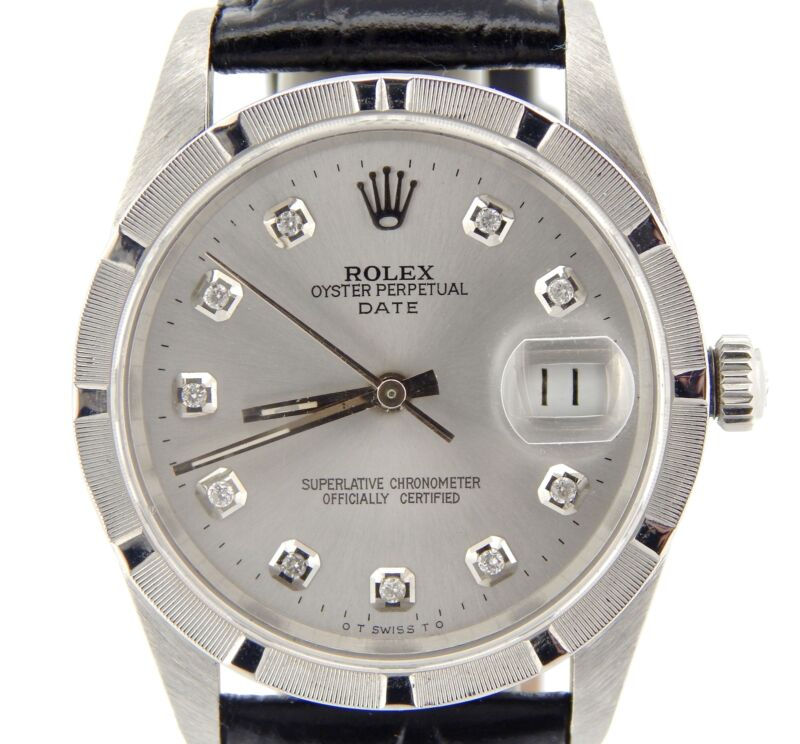 Mens Rolex Date Stainless Steel Watch Silver Diamond Dial Black Band Strap 15210