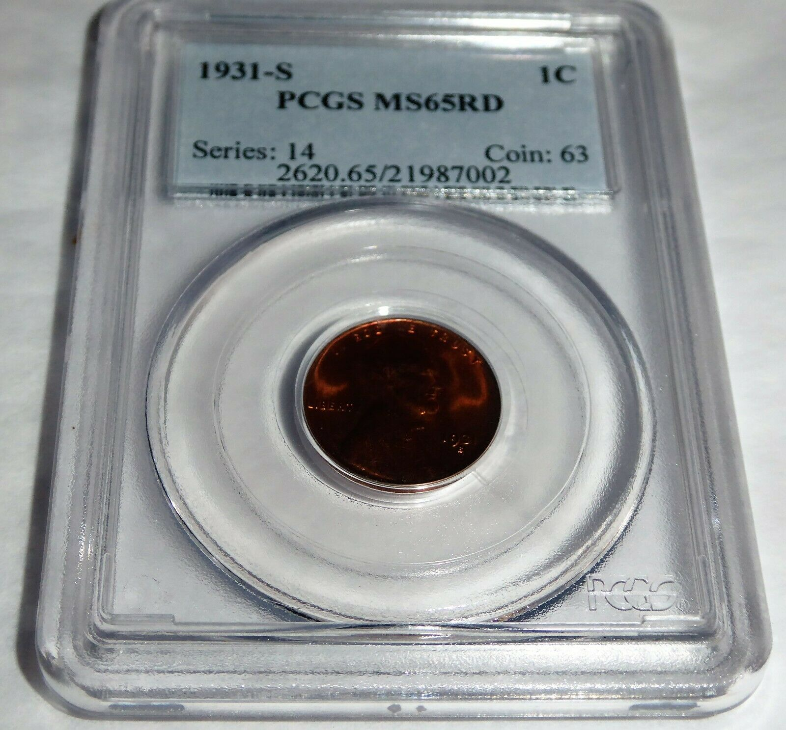 1931-S 1C PCGS MS65RD Lincoln Wheat Small Cents One Penny Cent Coin 💎