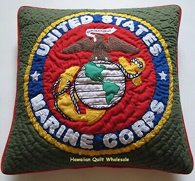 MARINE  PILLOW COVER CUSHION hand quilted/machine embroidered