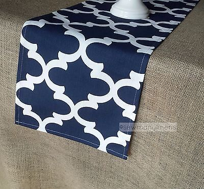Navy Blue Table Runner Moroccan Wedding Table Centerpiece Dining Decor Linens (Navy Table Runner)