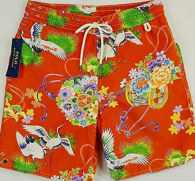 Polo Ralph Lauren Swim Trunks Briefs Shorts Orange Crane Size XL NWT