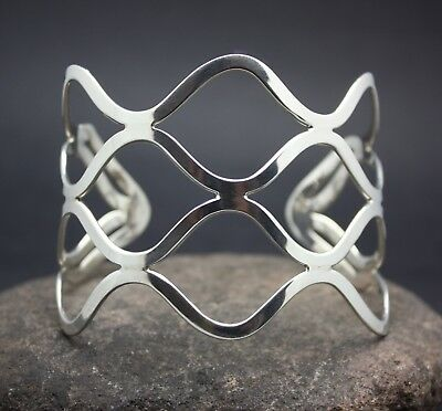 UNIQUE BIRD CAGE  CUFF BRACELET in .925  STERLING SILVER   FREE SHIPPING!!!