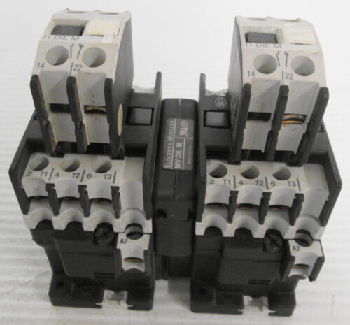 Lot of (2) Klockner Moeller DIL 00M Contactor with (2) 11 DIL M & (1) MV DIL M