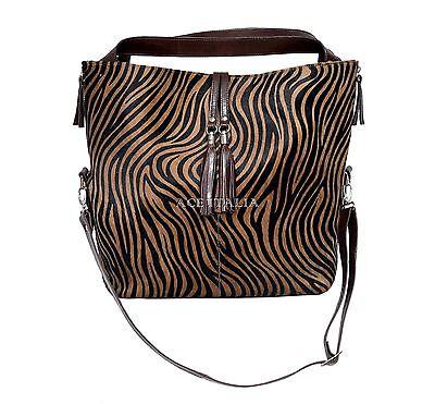 New Ladies Brown Real Cow Fur Zebra Print Leather Shoulder Strap Handbag 4614