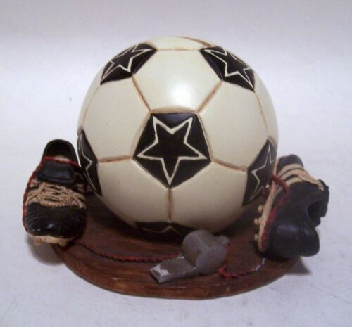 Soccer Ball Bank w/Cleats, Whistle Vintage Hand Painted Ceramic Russ Berrie & Co