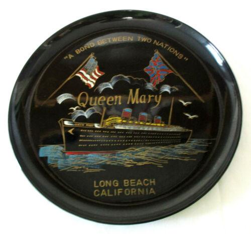 Vintage Mid-Century Souvenir Plate Enamel Queen Mary Long Beach California 1968