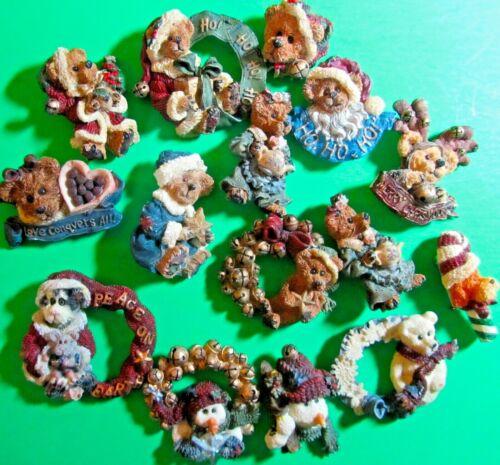 VINTAGE BOYDS BEAR & FRIENDS CAT DOG SNOWMAN CHRISTMAS LAPEL PIN LOT OF 15