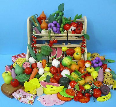 10 x Obst-Gemüse-Wurst-Käse.... Große Sortierung Holz f. Kaufladen +BONUS NEU