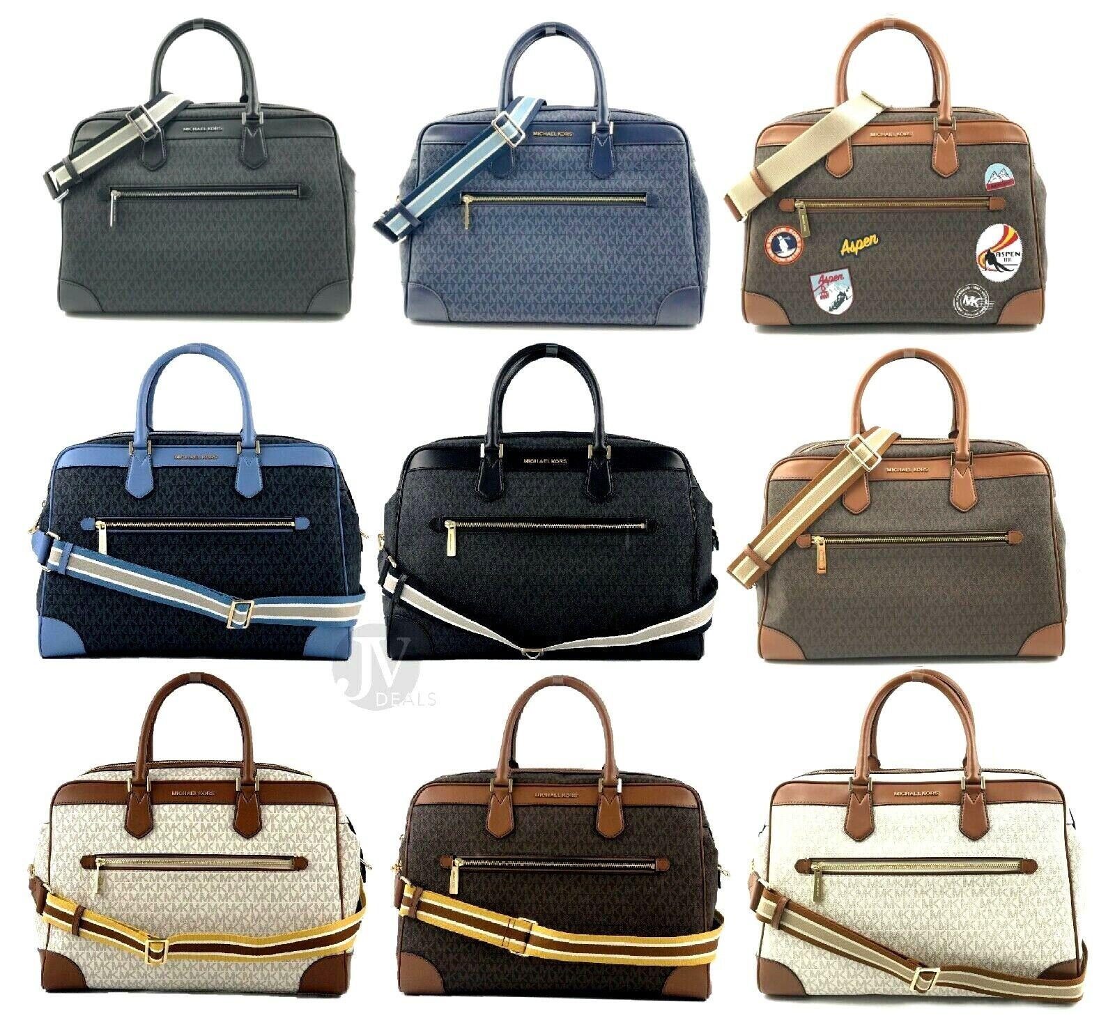 Michael Kors Jet Set Travel Signature PVC XL Weekender Duffle Carry On Bag