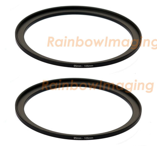 (2 Pack) 95mm-105mm 95 mm to 105 mm Metal Step Up Lens Filter Ring Adapter