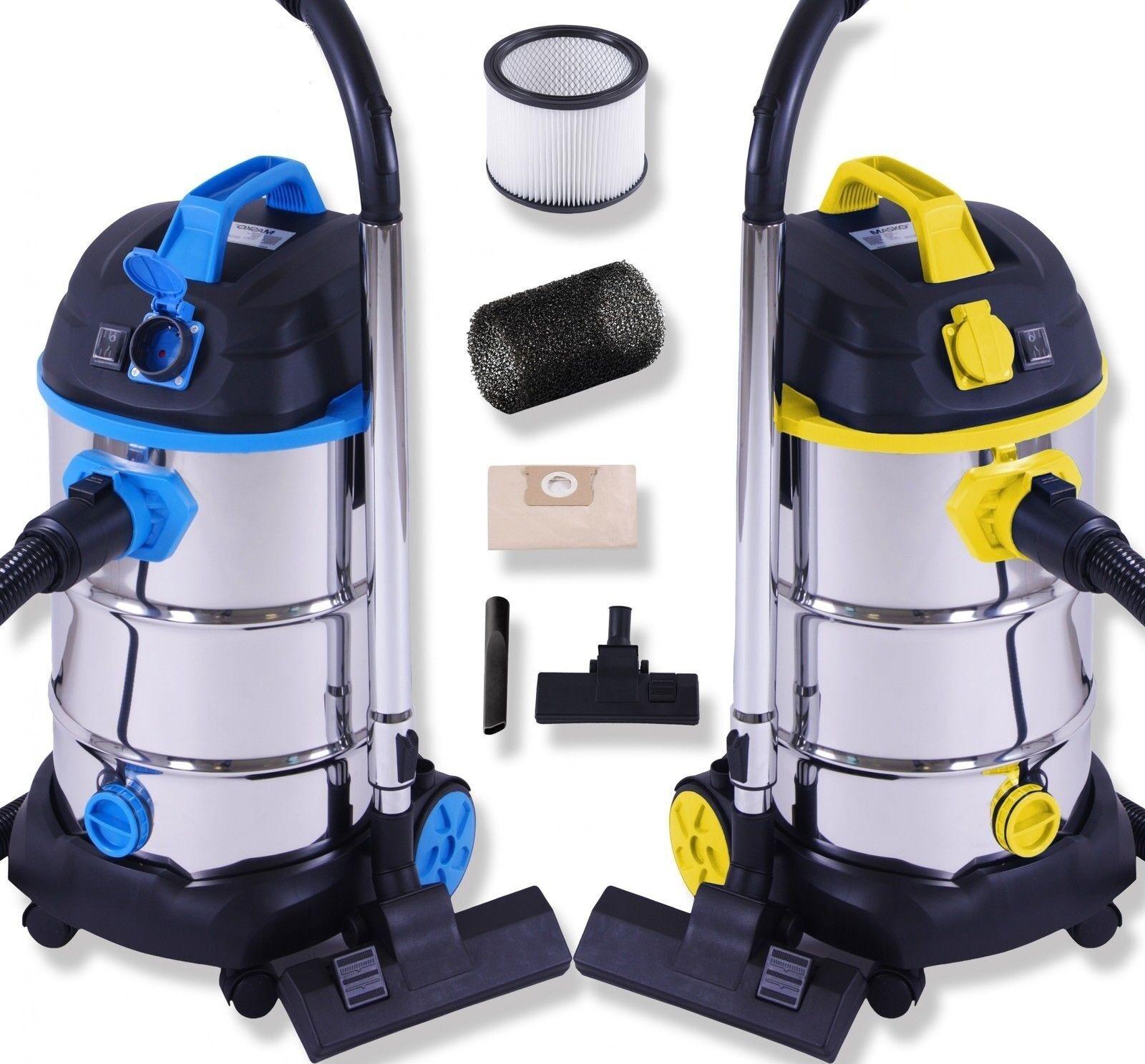 Masko® Aspirapolvere industriale liquid umido e secco acciaio inox max 1800W 30L