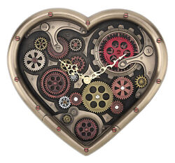 GRAND STEAMPUNK HEART SHAPED GEAR WALL CLOCK HOME DECOR