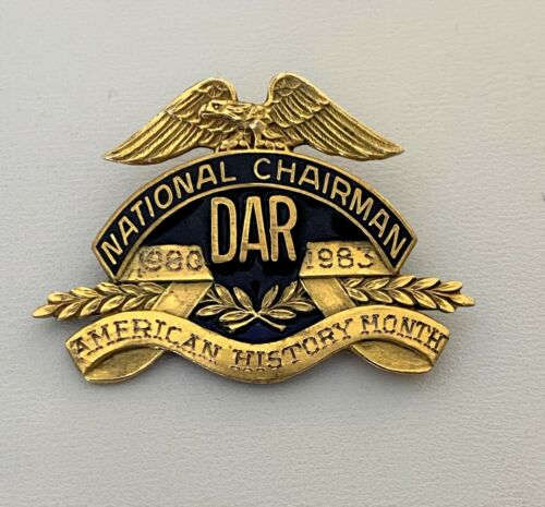 DAR Daughters of The American Revolution VTG GF National Chairman Pin Signed