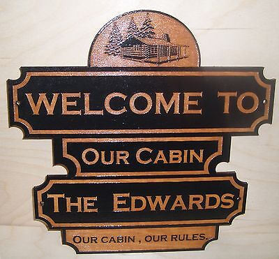 Personalized Wood Sign.WELCOME TO OUR CABIN . ANY TEXT Engraved Gift.