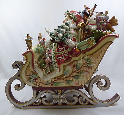 Fitz & Floyd Santa's Sleigh Tureen with Lid and Ladle