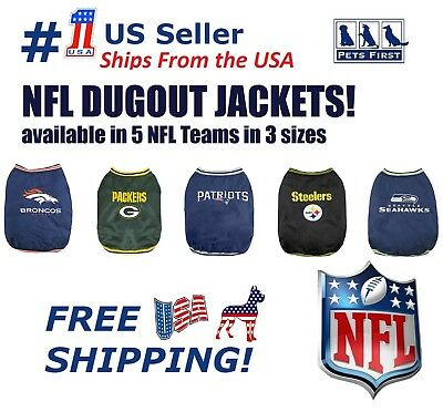 - NFL Dugout Warm Jacket for Dogs & Cats - Licensed. 5 Football teams, 3 pet sizes