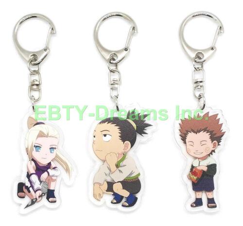 Set of 3 Naruto Anime Acrylic Keychain Chouji Akimichi, Shikamaru Nara, Ino