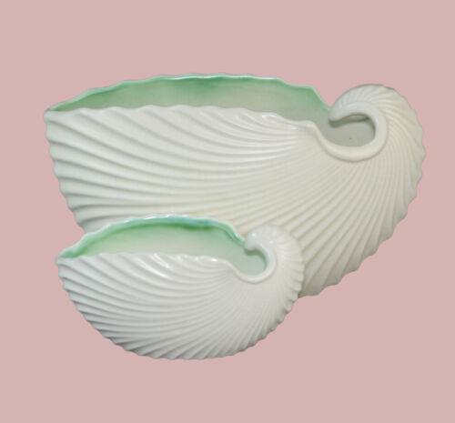 Set of SylvaC England Vintage White Nautilus Shell Nesting Planters Jardinieres