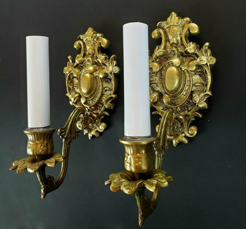 Pair antique brass sconces