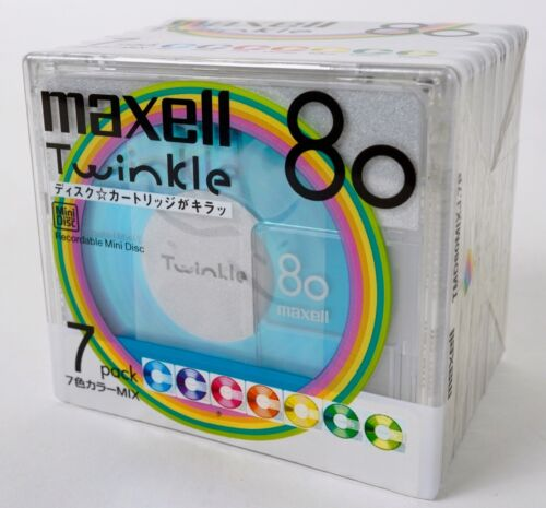 Maxell Twinkle 7 pack minidisc mini disc blank NEW in shrink-wrap JAPAN