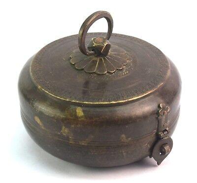 Decorative Indian Vintage Multi Purpose Old Brass Round Keepsake Box. G66-661 US