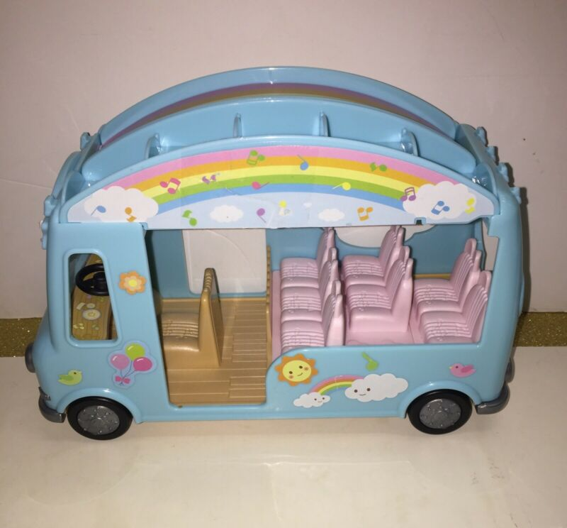 Calico Critters Sunshine Nursery Bus Toy Vehicle Sylvanian Families Rainbow