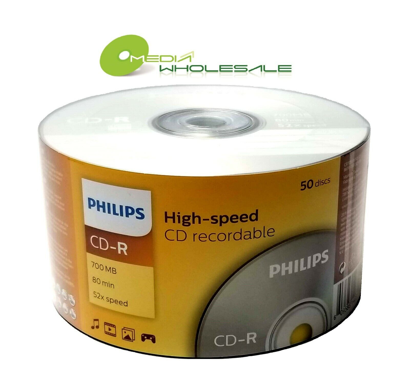 600 Pack HP Logo Brand Blank CDR CD-R 52X Recordable Disc Media 80 min Wholesale