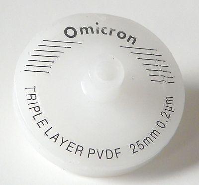 Omicron Syringe Filters Non-sterile 25mm 0.2um Triple Layered Gfgfpvdf 10pk