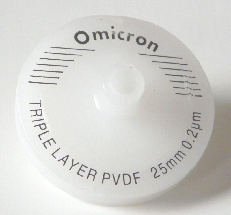 Omicron Syringe Filters Non-Sterile 25mm, 0.2um, Triple Layered GF+GF+PVDF 10Pk