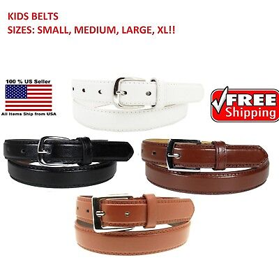 Silver Kids Belt (KIDS CHILDREN STITCHED LEATHER BELT Silver Belt Buckle Boys Girls S M L)