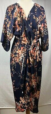 Hope & Ivy Womens Dress Dark Blue Size 16 Plunge Midi Floral Design