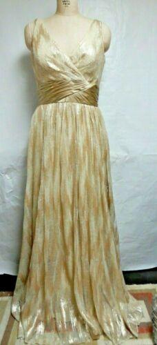 Badgley Mischka Gold Sequin Evening Gown Cocktail Floor Length Dress SZ 10