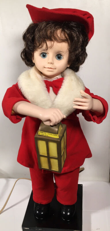 """Vintage Christmas 1987 Telco Motion-ettes Animated Victorian Doll Boy 24"""" Tall"""