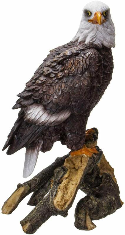 Ebros Gift American Eald Eagle Perching on Tree Branch Resin Figurine Statue