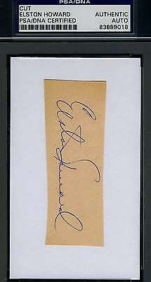 ELSTON HOWARD SIGNED PSA/DNA CERTED 3X5 INDEX CUT AUTHENTIC AUTOGRAPH