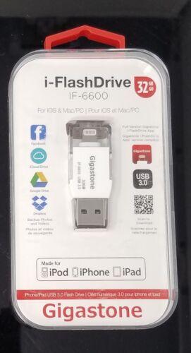 New 32GB Gigastone i-Flash drive iOS&MAC/PC USB 3.0 with Lightning Adapter