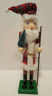 "Santa Nutcracker Plaid Red Black Wooden 15"" Christmas Holiday Decorative NEW"