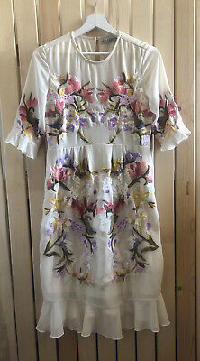 Ladies HOPE & IVY cream floral embroidered maternity dress Size 12 10 bohemian