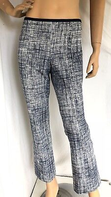TORY BURCH $275 SZ M NWT Kinsey Navy Grid Ponte Ankle Pants Navy White