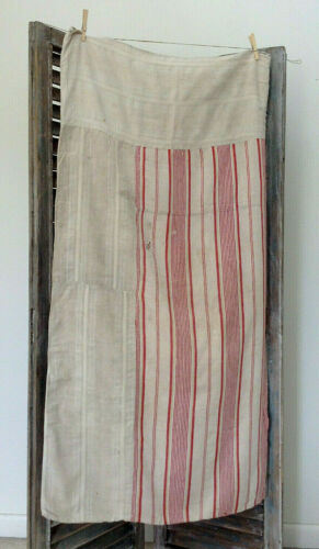 Antique vinatge French Linen striped ticking fabric Rustic Timeworn Sack