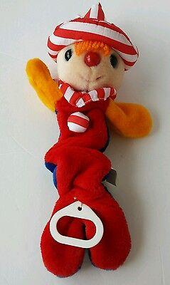 Vintage DAKIN Soft Stuffed plush musical clown pull crib toy 1985 primary colors Clown Musical Pull
