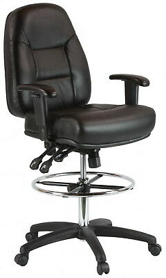 Harwick Black Leather Drafting Chair Model 100kl New In Box. Free Shipping
