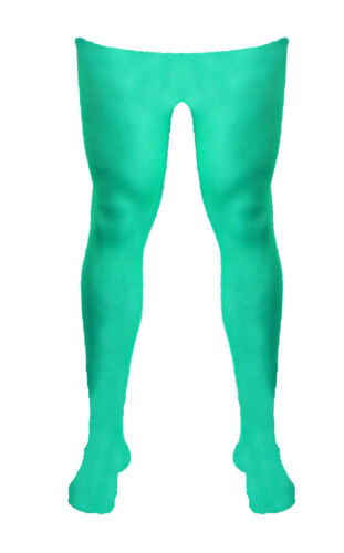 Adult Mens Lady Green Plain Pattern Burlesque Hoise Pantyhose Tights One Size