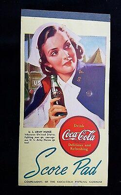 1940's Coca-Cola Advertising Premium Bridge Score Pad U.S. Army Nurse