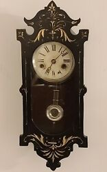 Antique Working 1898 Phillipp Haas & Sohne P.H&S Black Forest Wall Clock Germany