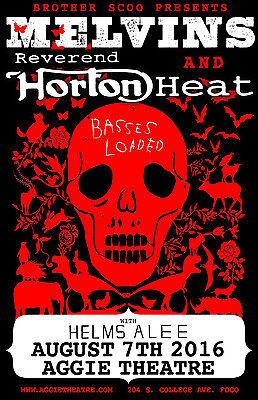 "MELVINS/REVEREND HORTON HEAT ""BASSES LOADED"" 2016 FT COLLINS CONCERT TOUR POSTER"