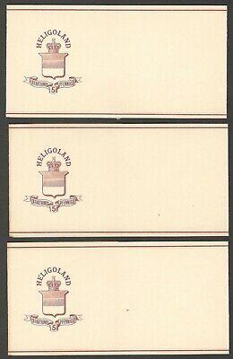 Heligoland 1878 QV Queen Victoria 3f/5pf brown wrappers unused HG #E2 x 5
