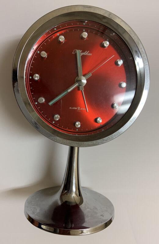 Rhythm Japan Alarm Clock Working Condition Space Age Atomic Mid Century Modern