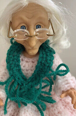Vintage 90's  Knitted  Grandma ,Witch,Mother In Law Toilet Roll doll